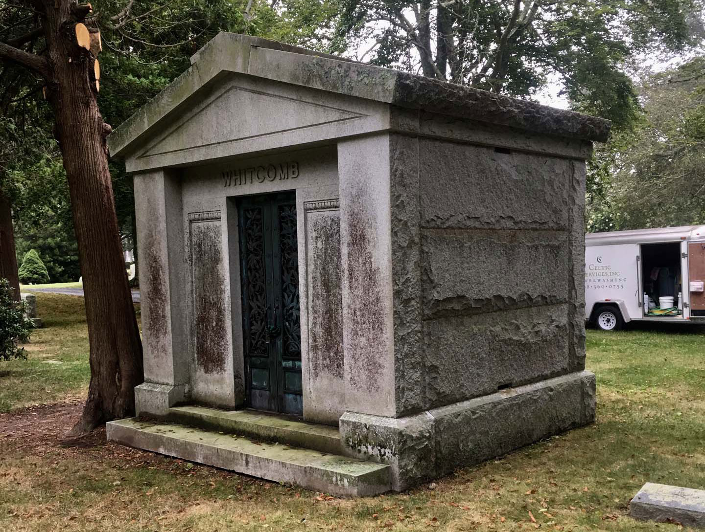 mausoleum before being cleaned